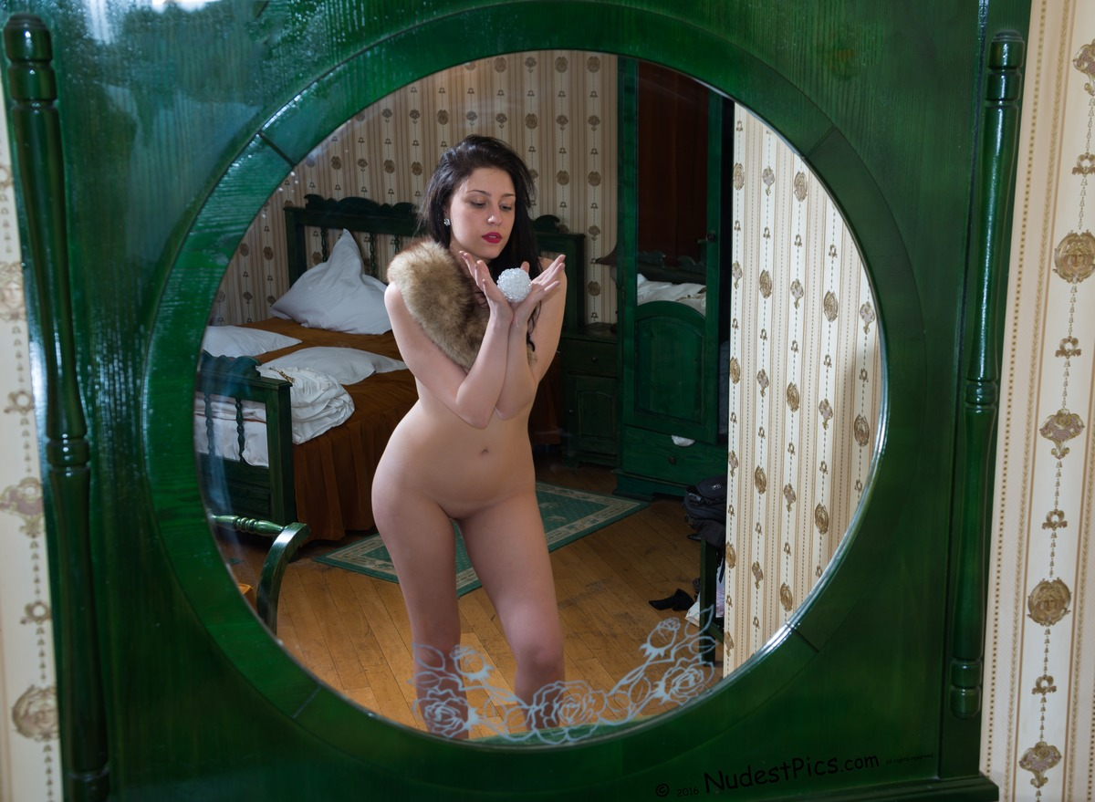 Beautiful Naked White Witch in the Mirror
