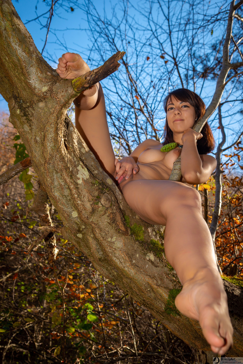 Young Naturist Girl Pussy Spreading in the Tree