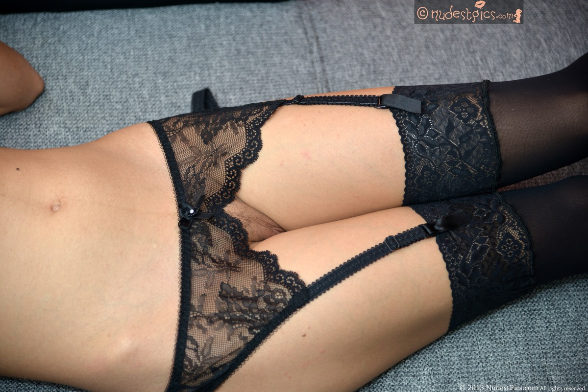 Racy Garters and Stockings Cunt Peek