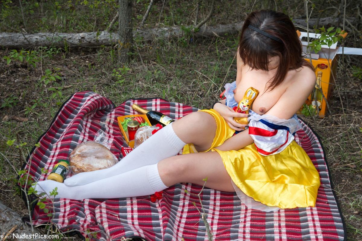 Bunny Enjoying Topless Girl on Easter Picnic