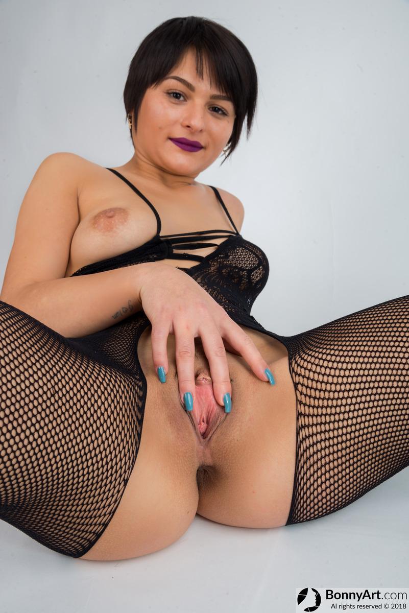 Crothless Stockings Brunette Babe Spreading Vagina Lips