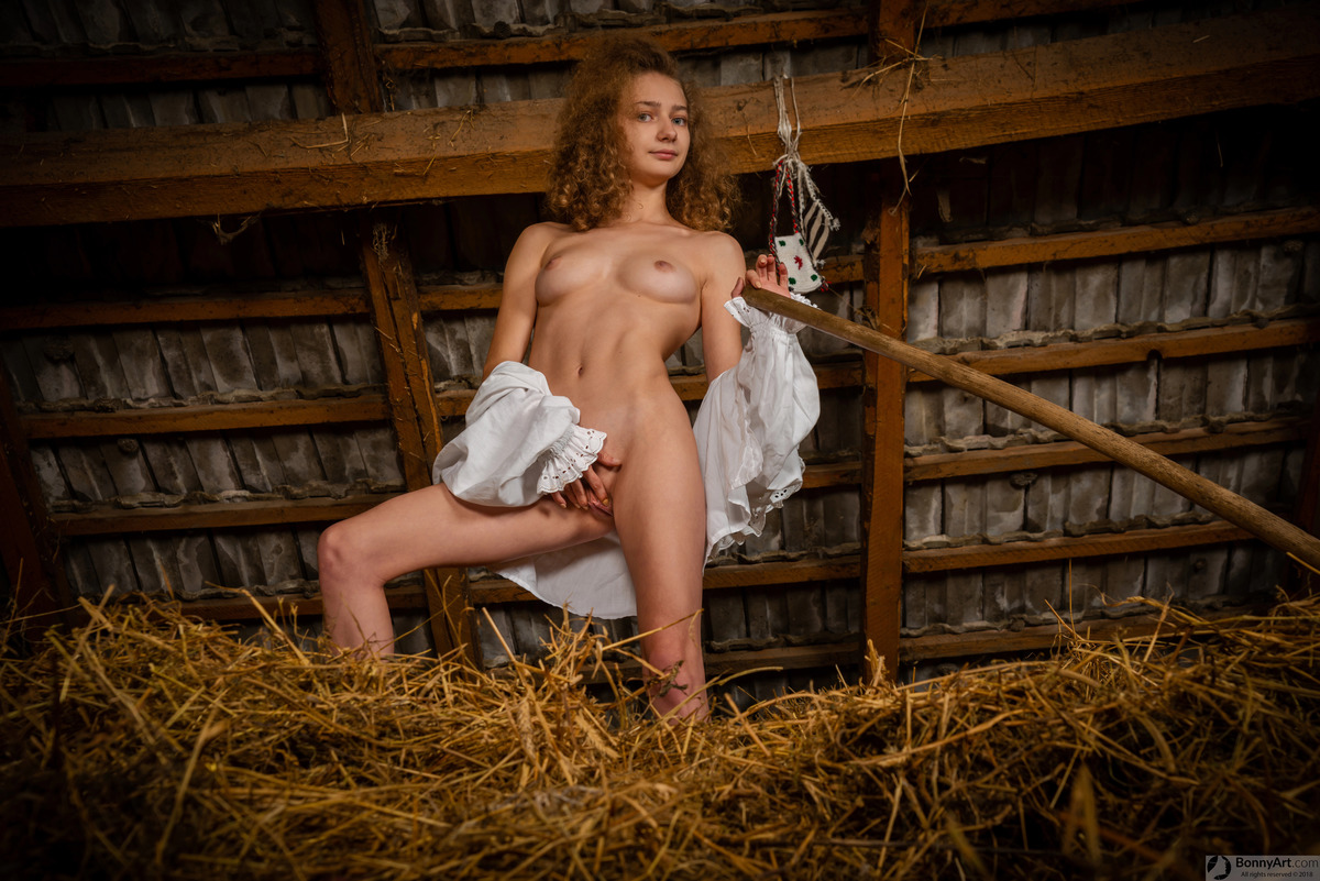 Cowgirl Teen Spreading Pussy in the Barn