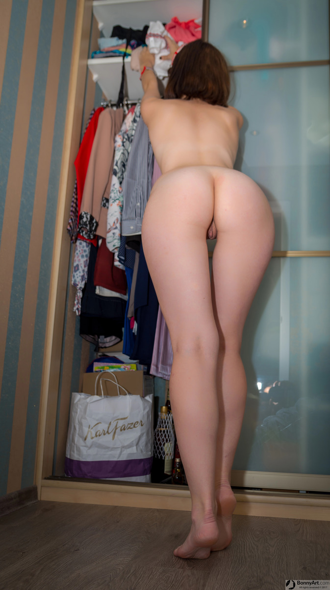 Young White Girlfriend Bending Over the Closet