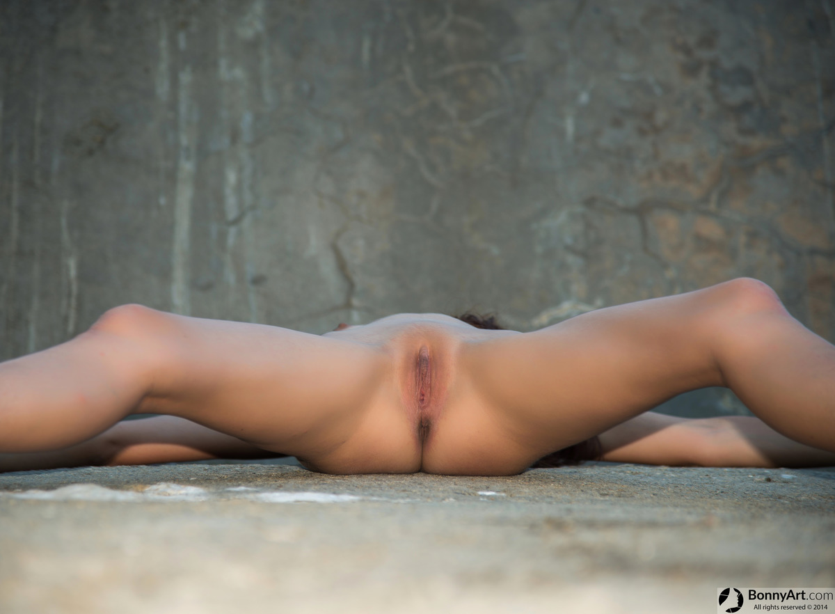 Wide Open Legs Up on the Concrete Wall