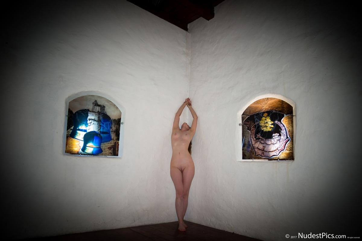 Artist Girl Posing Nude in the Art Museum