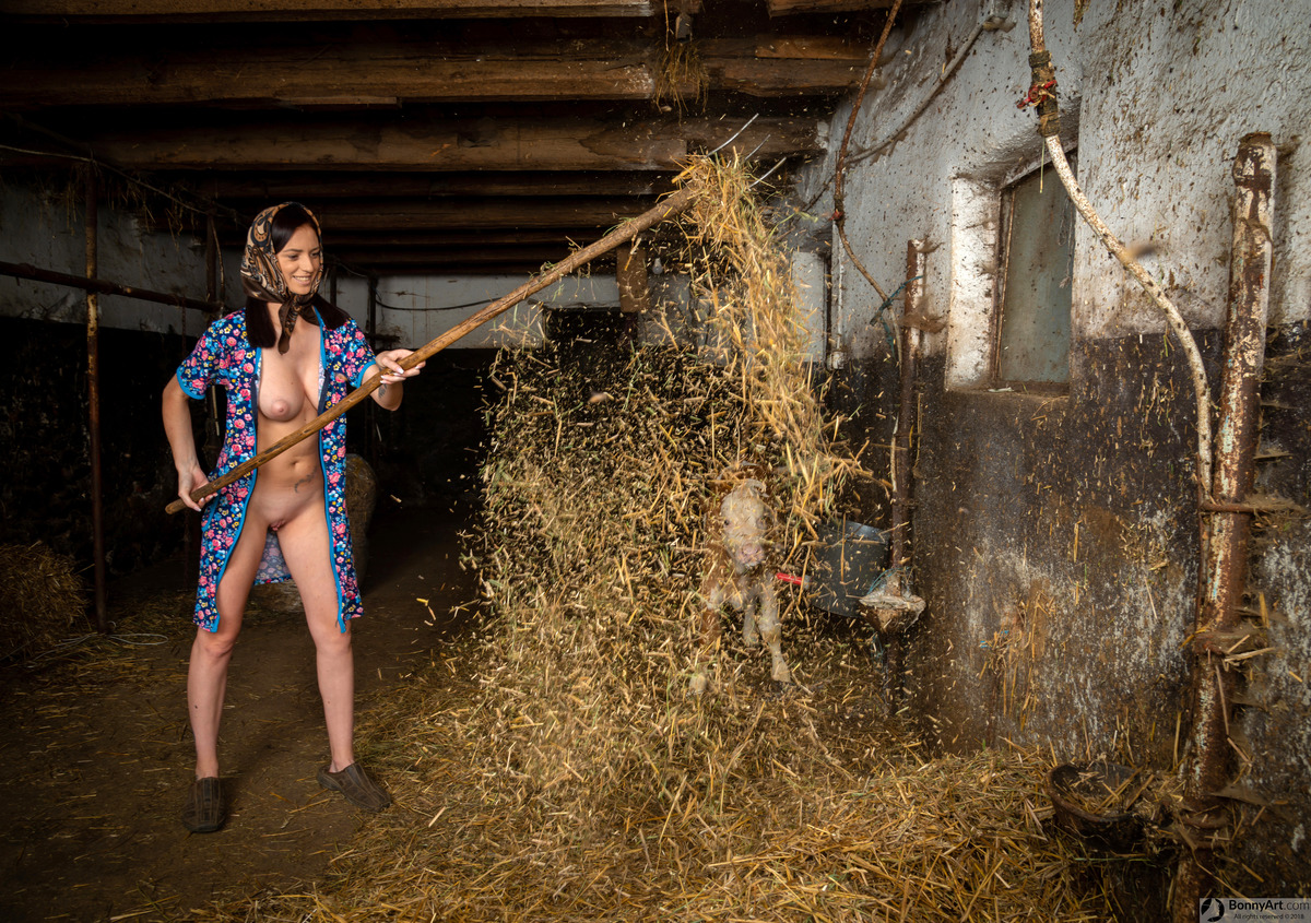 Naked Countrywoman Working the Stables' Hay