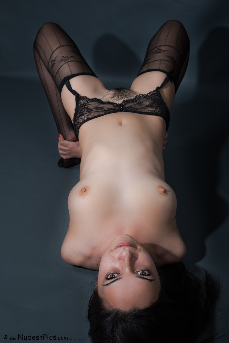 Hairy Teen Naked with Sexy Lingerie Upside Down