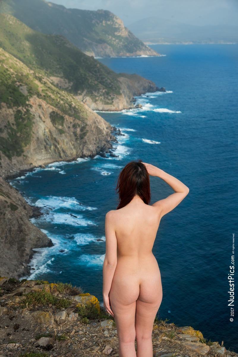 Naked Traveler Girl Scouting Amazing Island